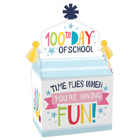 Happy 100th Day of School - Treat Box Party Favors - 100 Days Party Goodie Gable Boxes - Set of 12
