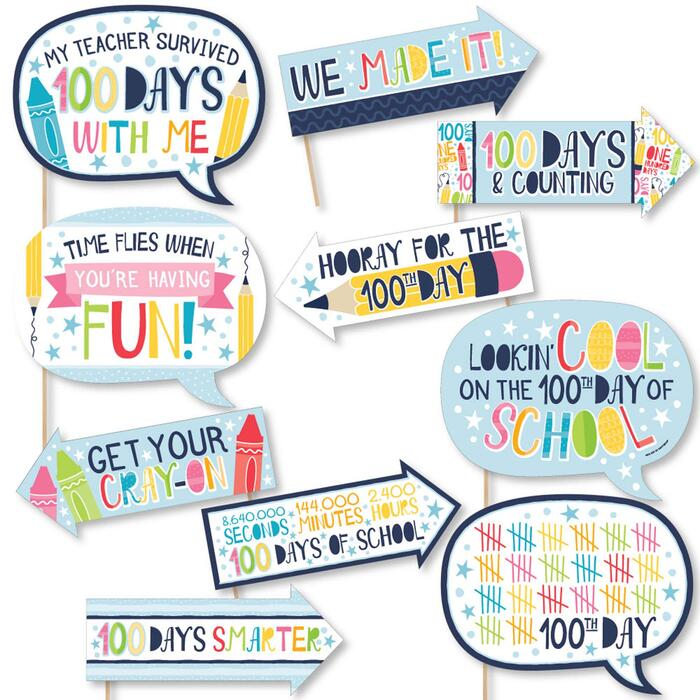 Funny Happy 100th Day of School - 10 Piece 100 Days Party Photo Booth Props Kit