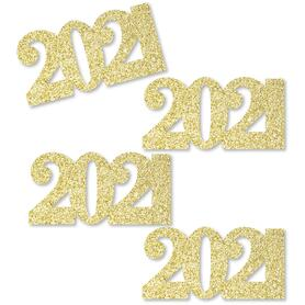 Gold Glitter 2021 - No-Mess Real Gold Glitter Cut-Out Numbers - 2021 Graduation Party Confetti - Set of 24
