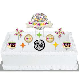 70's Disco - 1970s Disco Fever Birthday Party Cake Decorating Kit - Happy Birthday Cake Topper Set - 11 Pieces