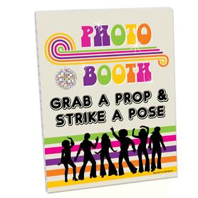 70's Disco Photo Booth Sign - 1970s Disco Fever Party Decorations - Printed on Sturdy Plastic Material - 10.5 x 13.75 inches - Sign with Stand - 1 Piece