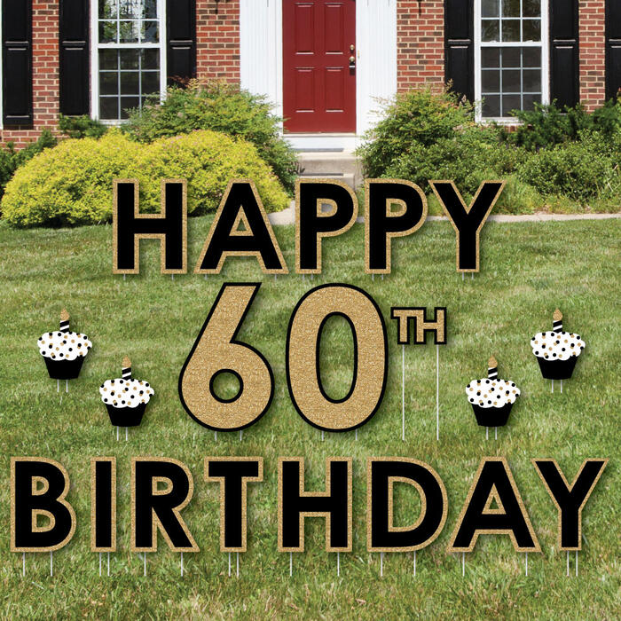 Happy 60th Birthday - Gold - Yard Sign Outdoor Lawn Decorations - Adult 60th Birthday Yard Signs
