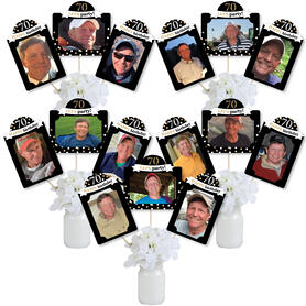 Adult 70th Birthday - Gold - Birthday Party Picture Centerpiece Sticks - Photo Table Toppers - 15 Pieces