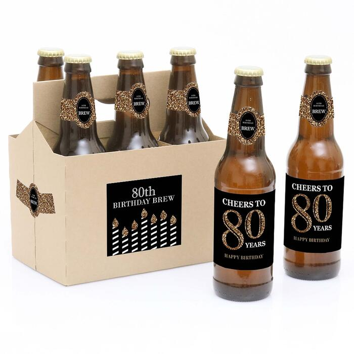 Adult 80th Birthday - Gold - Decorations for Women and Men - 6 Beer Bottle Labels and 1 Carrier - Birthday Gift