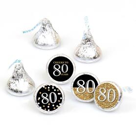 Adult 80th Birthday - Gold - Round Candy Labels Birthday Party Favors - Fits Hershey's Kisses - 108 ct