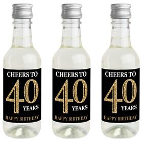 Adult 40th Birthday - Gold - Mini Wine and Champagne Bottle Label Stickers - Birthday Party Favor Gift - For Women and Men - Set of 16