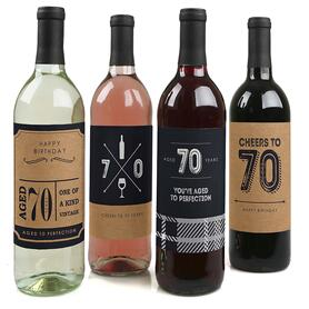 70th Milestone Birthday - Decorations for Women and Men - Wine Bottle Label Birthday Party Gift - Set of 4