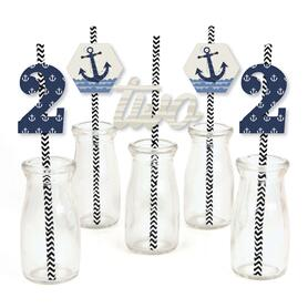 2nd Birthday Ahoy - Nautical - Paper Straw Decor - Second Birthday Party Striped Decorative Straws - Set of 24