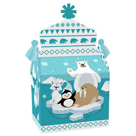 Arctic Polar Animals - Treat Box Party Favors - Winter Baby Shower or Birthday Party Goodie Gable Boxes - Set of 12