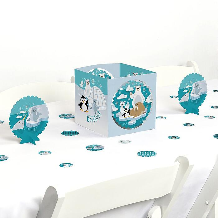 Arctic Polar Animals - Winter Baby Shower or Birthday Party Centerpiece and Table Decoration Kit