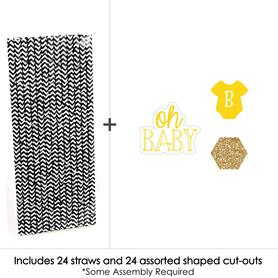 Baby Neutral - Paper Straw Decor - Baby Shower Striped Decorative Straws - Set of 24