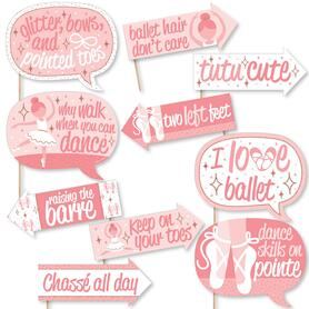 Funny Tutu Cute Ballerina - Ballet Birthday Party or Baby Shower Photo Booth Props Kit - 10 Piece
