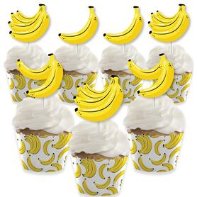 Let's Go Bananas - Cupcake Decoration - Tropical Party Cupcake Wrappers and Treat Picks Kit - Set of 24