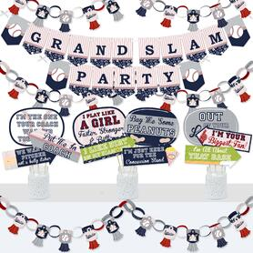 Batter Up - Baseball - Banner and Photo Booth Decorations - Baby Shower or Birthday Party Supplies Kit - Doterrific Bundle