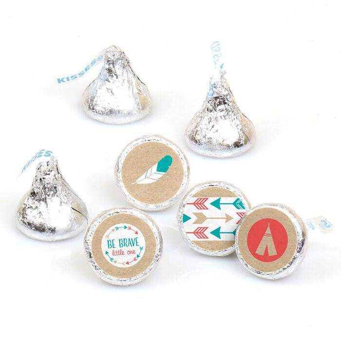 Be Brave Little One - Round Candy Labels Baby Shower or Birthday Party Favors - Fits Hershey's Kisses - 108 ct