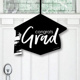Black and White Grad - Best is Yet to Come - Hanging Porch Black and White Graduation Party Outdoor Decorations - Front Door Decor - 1 Piece Sign