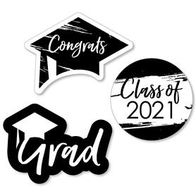 Black and White Grad - Best is Yet to Come - DIY Shaped 2021 Graduation Party Paper Cut-Outs - 24 ct