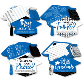 Blue Grad - Best is Yet to Come - 4 Graduation Party Games - 10 Cards Each - Most Likely to, Advice for the Graduate, What's in Your Future and What's on Your Phone - Gamerific Bundle