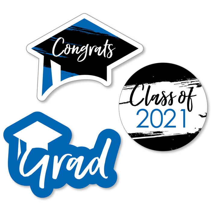 Blue Grad - Best is Yet to Come - DIY Shaped 2021 Graduation Party Paper Cut-Outs - 24 ct