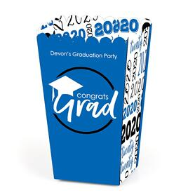 Blue Grad - Best is Yet to Come - Personalized 2020 Graduation Popcorn Favor Treat Boxes - Set of 12