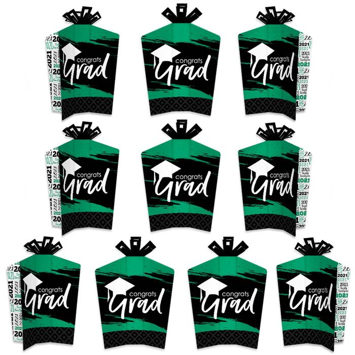 Green Grad - Best is Yet to Come - Table Decorations - 2021 Green Graduation Party Fold and Flare Centerpieces - 10 Count