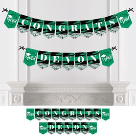 Personalized Green Grad - Best is Yet to Come - Custom 2020 Graduation Party Bunting Banner and Decorations - Congrats Custom Name Banner