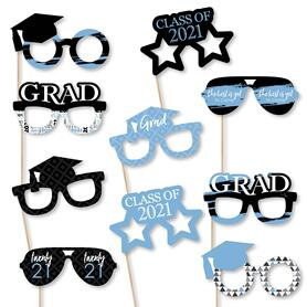 Light Blue Grad Glasses - Best is Yet to Come - Light Blue 2021 Paper Card Stock Graduation Party Photo Booth Props Kit - 10 Count