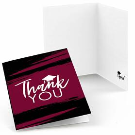 Maroon - Best is Yet to Come - Maroon Graduation Party Thank You Cards - Set of 24