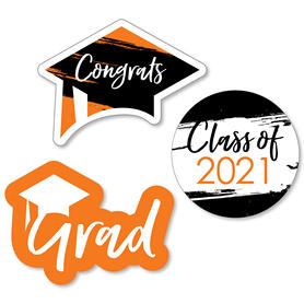 Orange Grad - Best is Yet to Come - DIY Shaped 2021 Graduation Party Paper Cut-Outs - 24 ct