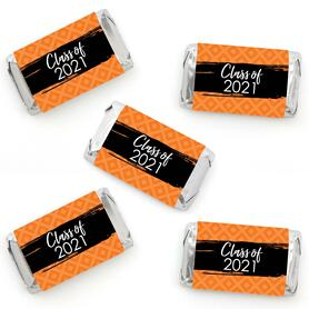Orange Grad - Best is Yet to Come - Mini Candy Bar Wrapper Stickers - 2021 Orange Graduation Party Small Favors - 40 Count