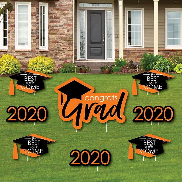 Orange Grad - Best is Yet to Come - Yard Sign & Outdoor Lawn Decorations – 2020 Graduation Party Yard Signs - Set of 8