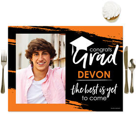 Orange Grad - Best is Yet to Come - Personalized Orange Graduation Party Table Decorations - Photo Placemats - Set of 16