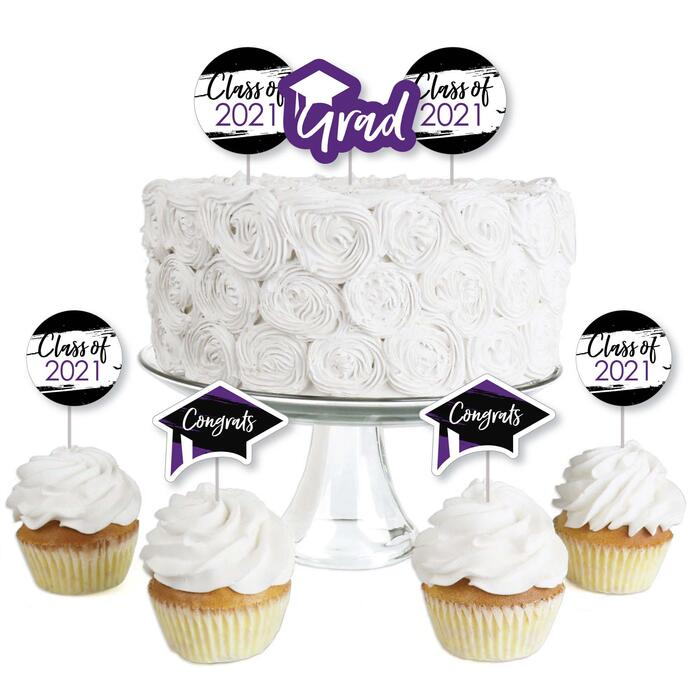 Purple Grad - Best is Yet to Come - Dessert Cupcake Toppers - Purple 2021 Graduation Party Clear Treat Picks - Set of 24