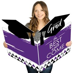 Purple Grad - Best is Yet to Come - Graduation Congratulations Giant Greeting Card - Big Shaped Jumborific Card - 16.5 x 22 inches