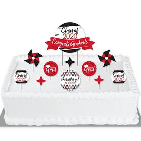 Red Grad - Best is Yet to Come - 2020 Red Graduation Party Cake Decorating Kit - Congrats Graduate Cake Topper Set - 11 Pieces