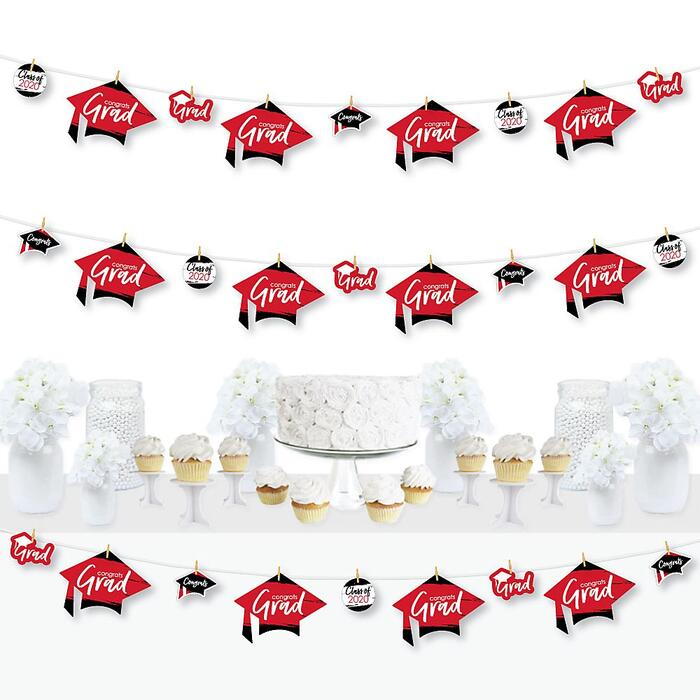 Red Grad - Best is Yet to Come - 2020 Red Graduation Party DIY Decorations - Clothespin Garland Banner - 44 Pieces