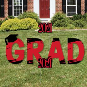 GRAD - Red Grad - Best is Yet to Come - Yard Sign Outdoor Lawn Decorations - Red 2021 Graduation Party Yard Signs