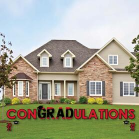 conGRADulations - Red Grad - Best is Yet to Come - Yard Sign Outdoor Lawn Decorations - Red 2021 Graduation Party Yard Signs