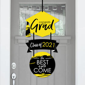 Yellow Grad - Best is Yet to Come - Hanging Porch 2021 Yellow Graduation Party Outdoor Decorations - Front Door Decor - 3 Piece Sign