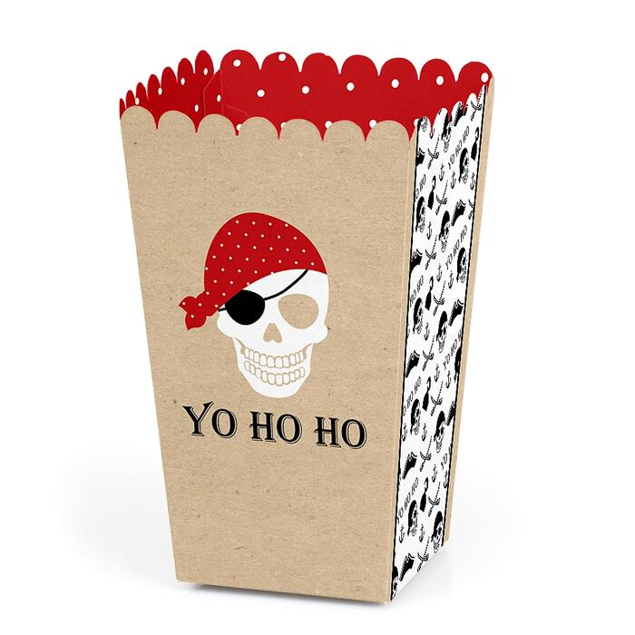 Beware of Pirates - Pirate Birthday Party Favor Popcorn Treat Boxes - Set of 12