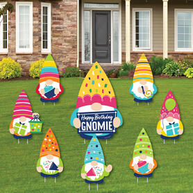 Gnome Birthday - Yard Sign and Outdoor Lawn Decorations - Happy Birthday Party Yard Signs - Set of 8