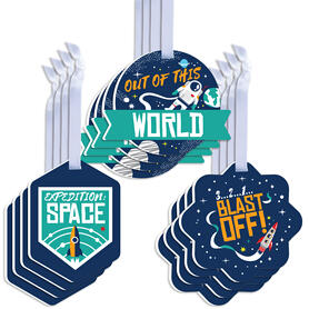 Blast Off to Outer Space - Assorted Hanging Rocket Ship Baby Shower or Birthday Party Favor Tags - Gift Tag Toppers - Set of 12