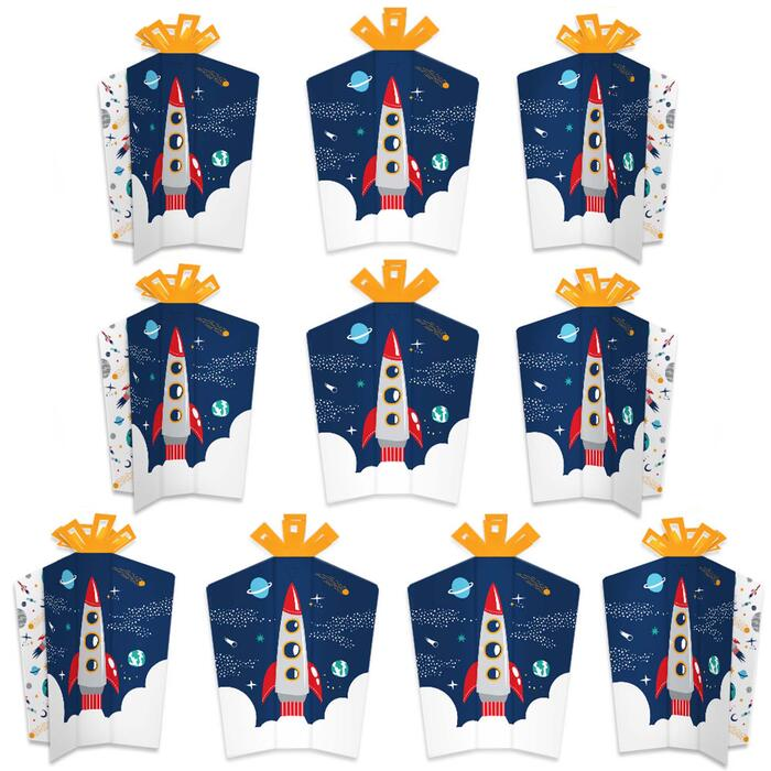 Blast Off to Outer Space - Table Decorations - Rocket Ship Baby Shower or Birthday Party Fold and Flare Centerpieces - 10 Count