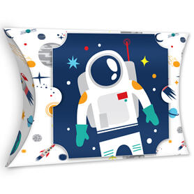 Blast Off to Outer Space - Favor Gift Boxes - Rocket Ship Baby Shower or Birthday Party Large Pillow Boxes - Set of 12