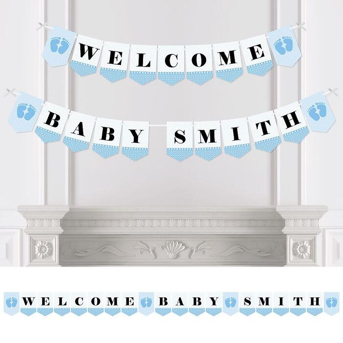 Personalized Baby Feet Blue - Custom Baby Shower Bunting Banner and Decorations - Welcome Baby Custom Name Banner
