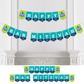 Blue Bar Mitzvah - Boy Party Bunting Banner - Party Decorations - Happy Bar Mitzvah