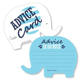 Blue Elephant - Wish Card Boy Baby Shower Activities - Shaped Advice Cards Game - Set of 20
