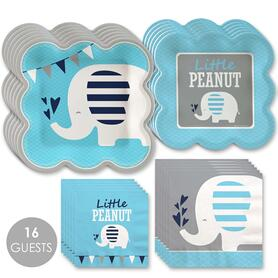 Blue Elephant - Boy Baby Shower or Birthday Party Tableware Plates and Napkins - Bundle for 16