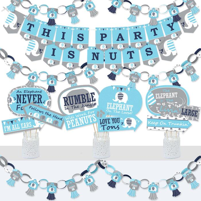 Blue Elephant - Banner and Photo Booth Decorations - Boy Baby Shower or Birthday Party Supplies Kit - Doterrific Bundle