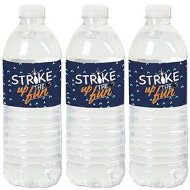 Strike Up the Fun - Bowling - Birthday Party or Baby Shower Water Bottle Sticker Labels - Set of 20